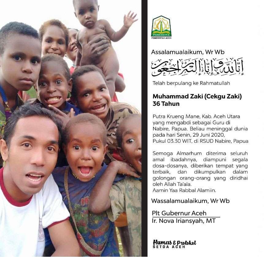 Turut Berduka Cita atas Meninggalnya Putra Aceh, Cekgu Zaki, di Nabire